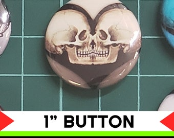 Skull Candy Fun 1 inch buttons. Skull Skeleton Pin back button