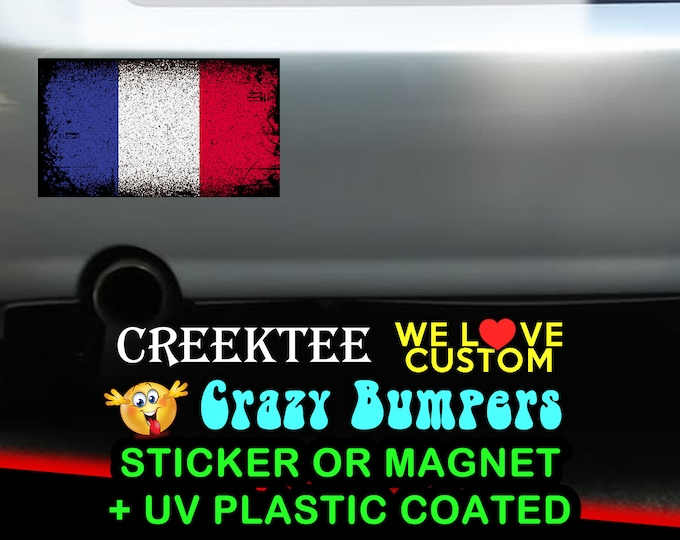 "3 Vinyl France Grunge Look Stickers or Magnets coated in 3mil or 4.7mil UV laminate, size is 4 inch X 2 inch (4.1"" x 2.3"")"