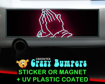 Amen Praying Hands 10 x 3 Bumper Sticker or Magnet - Custom changes and orders welcomed!