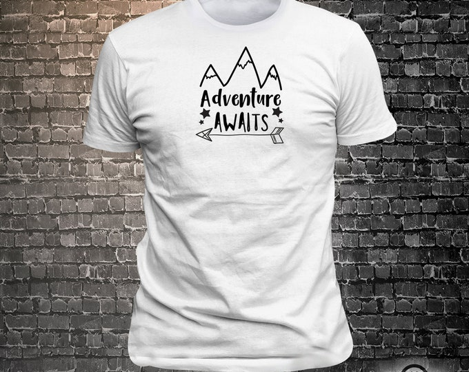Vinyl Print Adventure Awaits -  Fun Wear T-Shirt  - Unisex Funny Sayings and T-Shirts Cool Funny T-Shirts Fun Wear