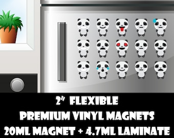 15 2inch panda emoji fridge magnets or stickers standard, photo or vinyl print materials with laminate or magnet options available.