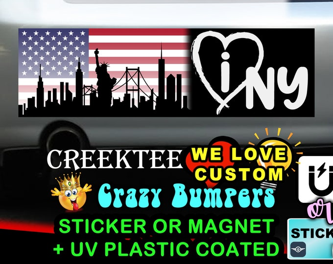 "I Love New York Bumper Sticker or Magnet in new sizes, 4""x1.5"", 5""x2"", 6""x2.5"", 8""x2.4"", 9""x2.7"" or 10""x3"" sizes"