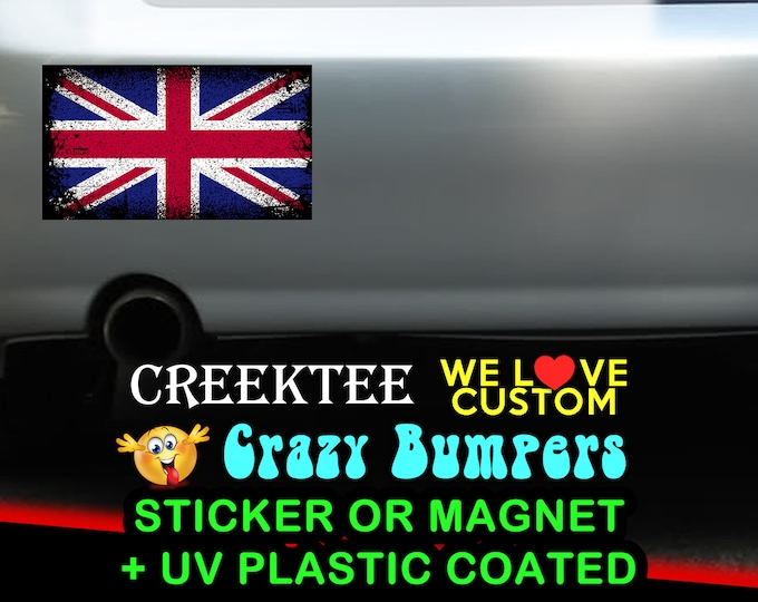 "3 Vinyl United Kingdom Grunge Look Stickers or Magnets coated in 3mil or 4.7mil UV laminate, size is 4 inch X 2 inch (4.1"" x 2.3"")"