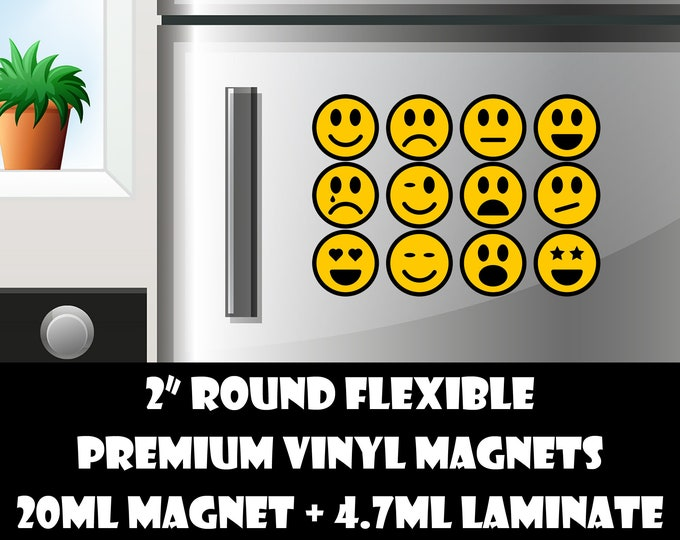 12 2inch round emoticons standard, photo or vinyl print materials with laminate or magnet options available.