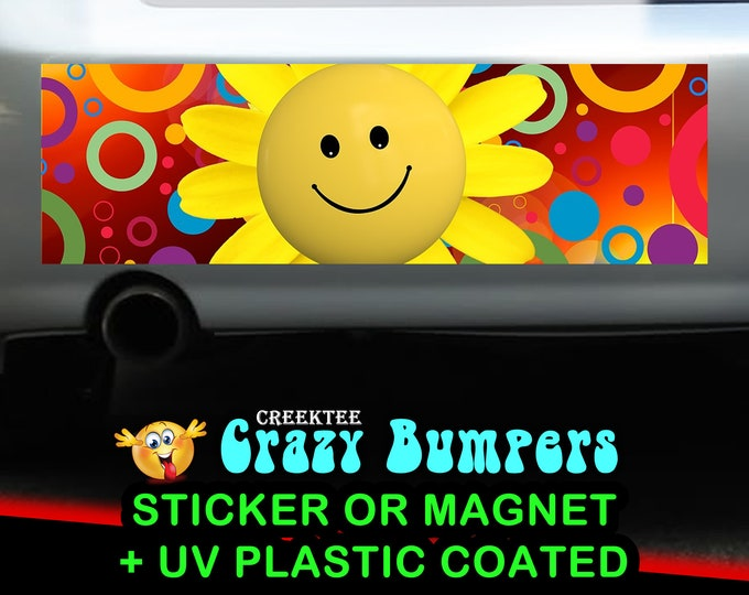 Happy Face Emoji 10 x 3 Bumper Sticker or Magnetic Bumper Sticker Available