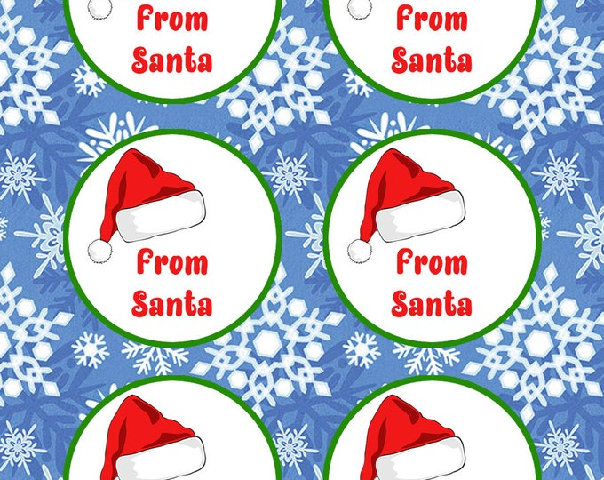Round From Santa 2 inch or 3 inch circles Christmas Gift Tag Stickers - Christmas gifts
