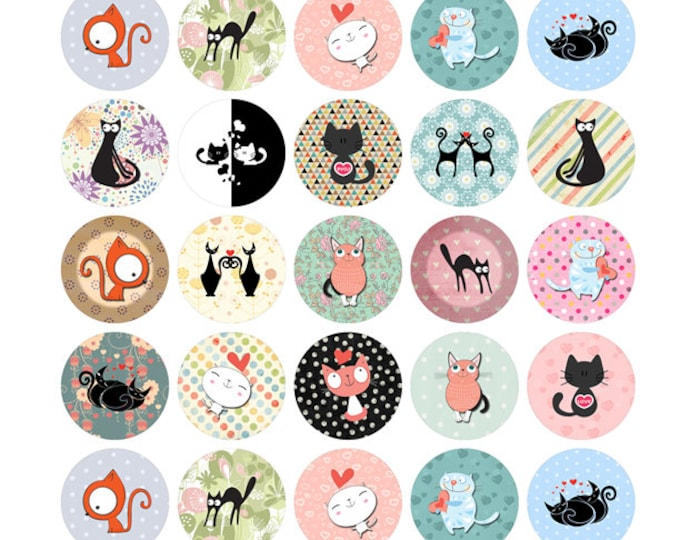35 BUTTONS Cat ORAGAMI Collection Fun 1 inch buttons. 35 Collection Pin back button