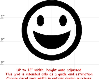Happy Face Emoji Smile Emoji Vinyl Decal (1906-G) - various sizes and colors - colours