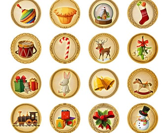 24 PINS Christmas Collection Fun 1 inch Fridge or Message Board Magnets