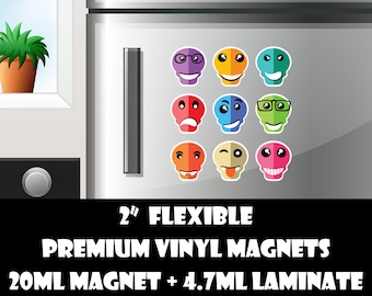 9 2 inch skull emoji fridge magnets or stickers standard, photo or vinyl print materials with laminate or magnet options available.