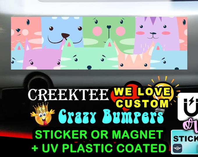 "Colorful Cats Bumper Sticker or Magnet with your text or image 8""x2.4"", 9""x2.7"" or 10""x3"""