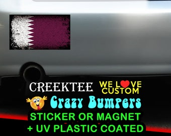 "3 Vinyl Qatar Grunge Look Stickers or Magnets coated in 3mil or 4.7mil UV laminate, size is 4 inch X 2 inch (4.1"" x 2.3"")"