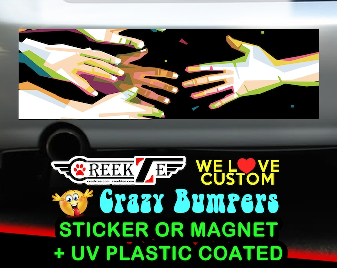 Helping Hand Digital Bumper Sticker or Magnet, various sizes available with UV laminate protection