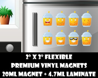 8 2inch fridge magnets or stickers - bubble tea -  standard, photo or vinyl print materials with laminate or magnet options available.