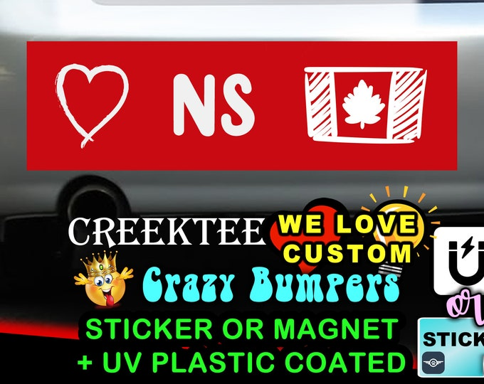 "Love Nova Scotia Canada Bumper Sticker or Magnet in new sizes, 4""x1.5"", 5""x2"", 6""x2.5"", 8""x2.4"", 9""x2.7"" or 10""x3"" sizes"