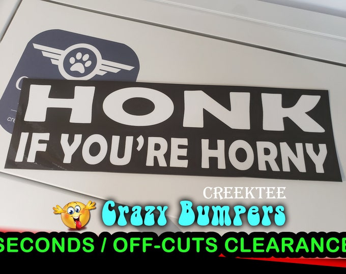 "Off-Cut or Seconds 1 only - Honk If Your Horny Vinyl Bumper Magnet 10"" x 3"""