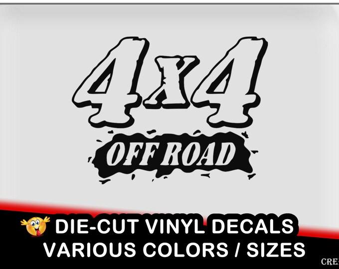 4x4 off road vinyl decal - fun vinyl decal in various colors