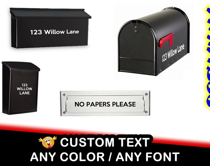 Mailbox lettering and address on mailbox vinyl decal letters numbers