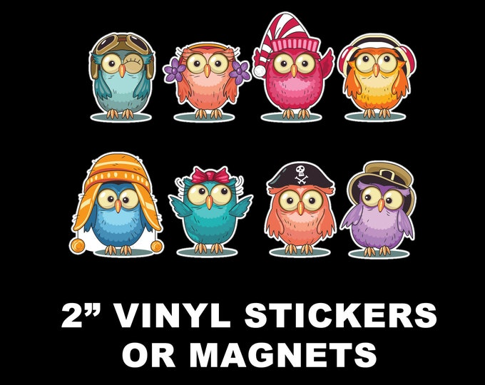 8 Fun Owl Adventure Vinyl Stickers or Magnets  2 inch sizing