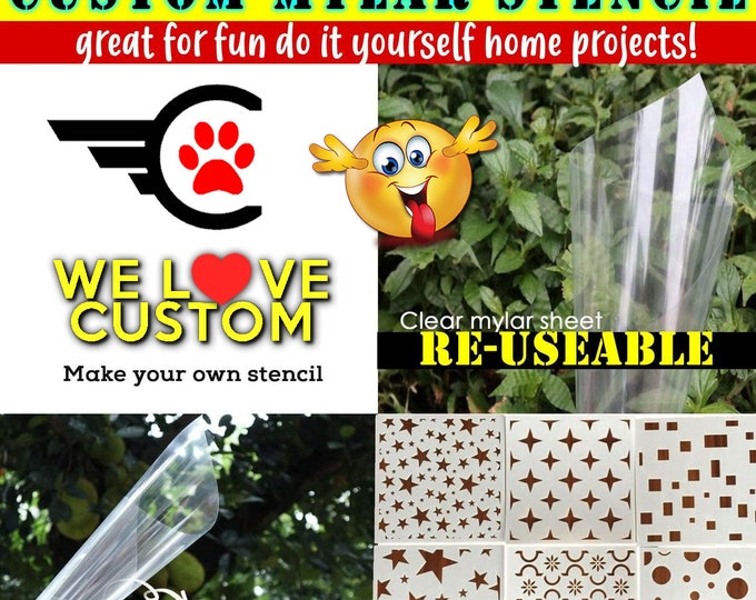 """Custom text or image stencil for diy projects.  Airbrush, wood, painting your custom text or image cut into mylar stencil up to 12"""" x 12"""""""