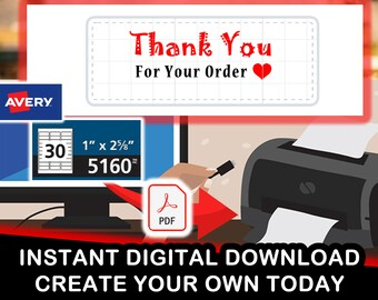 "Avery 5160 ""Thank You For Your Order Heart Symbol"" Digital PDF for 30 stickers per sheet"