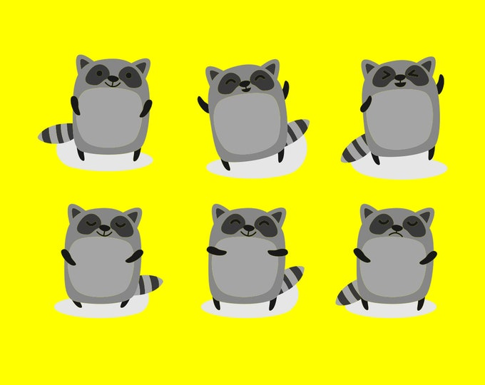 6 Cute Racoons Fun Vinyl Stickers or Magnets sizing see photos