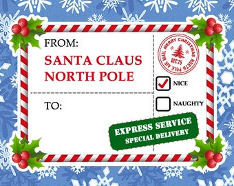 4 Large Fun Christmas Faux Shipping Label Mail Stamp Stickers - Christmas Stamps  for Santa Claus gifts and Christmas Cards