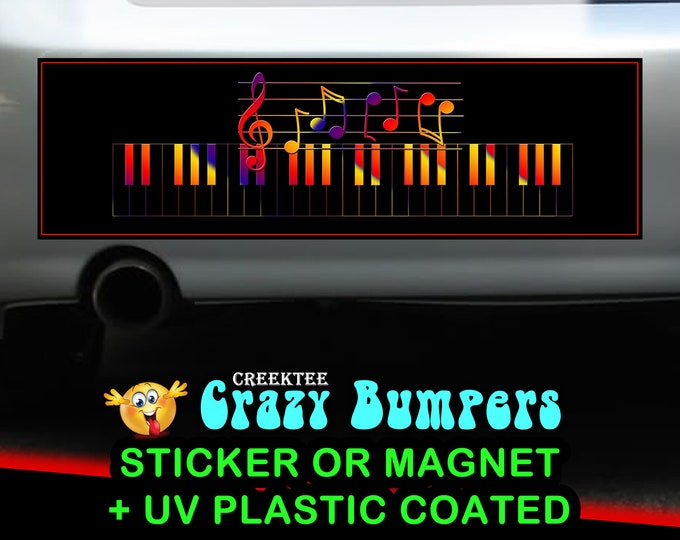 Music Notes 10 x 3 Bumper Sticker or Magnetic Bumper Sticker Available