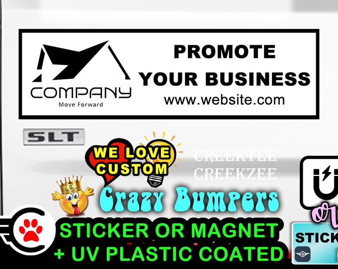 "Custom or Personalized 10"" Wide Bumper Sticker or Magnetic Bumper Sticker Available"