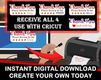 Digital Download - DIY  - Thank You Please Review Us On Etsy, Amazon, Ebay and Thank you! 1.25 x 3