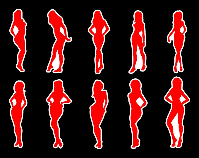 10 Sexy Female Vinyl or Standard Stickers in Various Sizes see Images For Sizing, magnet / laminate options available