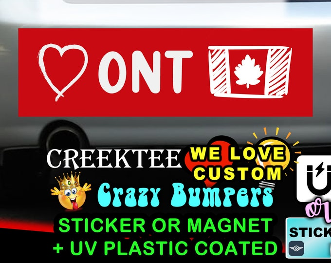 "Love Ontario Canada Bumper Sticker or Magnet in new sizes, 4""x1.5"", 5""x2"", 6""x2.5"", 8""x2.4"", 9""x2.7"" or 10""x3"" sizes"