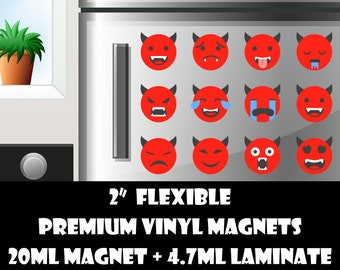12 2inch devil emoji fridge magnets or stickers standard, photo or vinyl print materials with laminate or magnet options available.