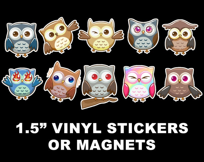 10 Fun Owl Adventure Vinyl Stickers or Magnets  1.5 inch sizing