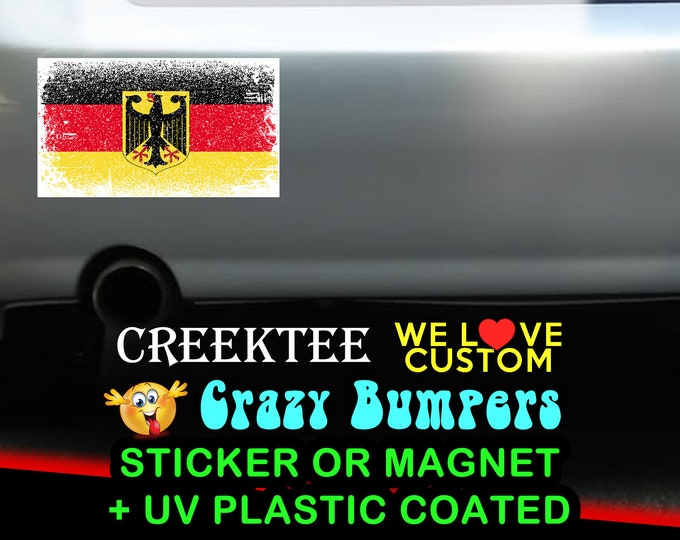 "3 Vinyl Germany Grunge Look Stickers or Magnets coated in 3mil or 4.7mil UV laminate, size is 4 inch X 2 inch (4.1"" x 2.3"")"