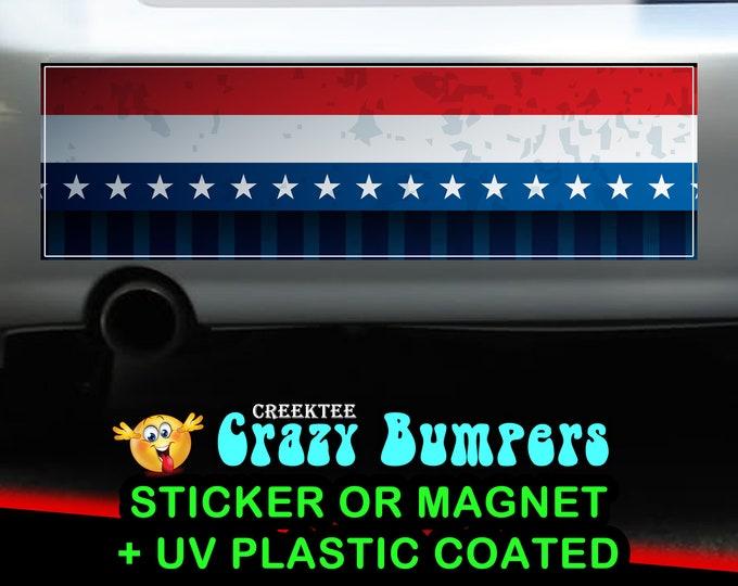 American USA sticker or magnet, 9 x 2.7 or 10 x 3 Sticker Magnet or bumper sticker or bumper magnet