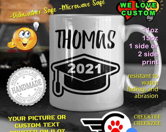 Graduation Personalized Name Mug, Custom Funny Mug Custom Name 11oz Coffee Mug, choose your color or font
