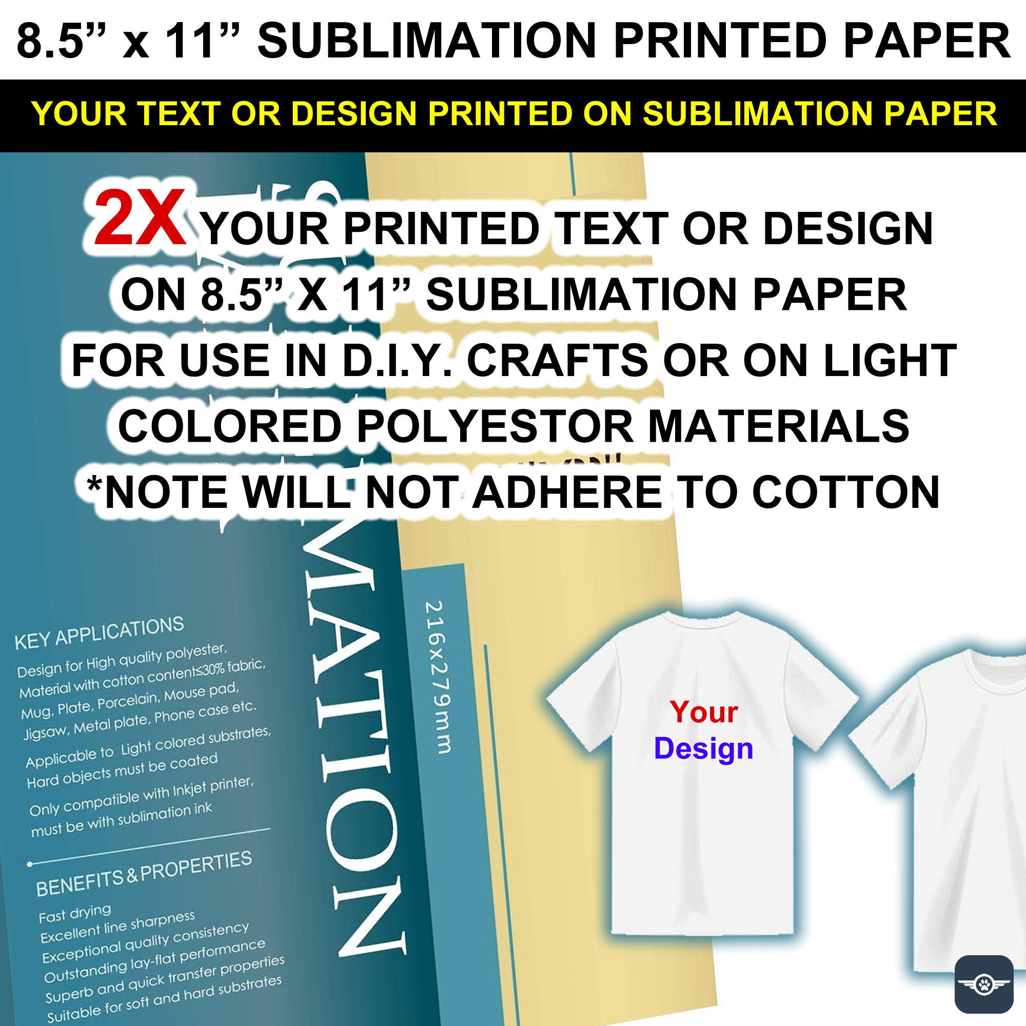 Your text or design printed on 2X - 8.5