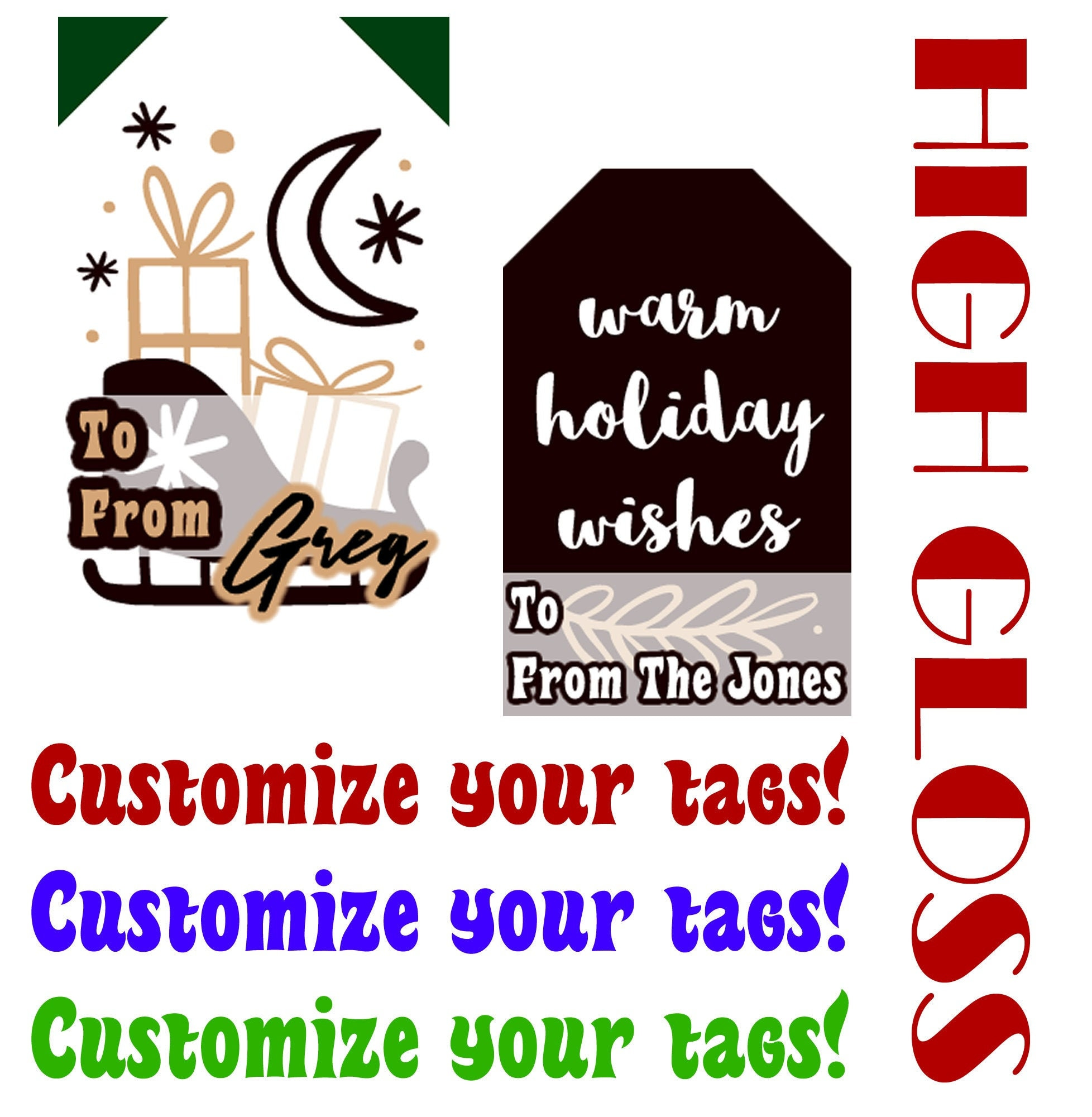 Personalized Christmas Gift Tag Sticker , Customize High Gloss finish vivid tags for your gifts with a premium feel and look to your tags!