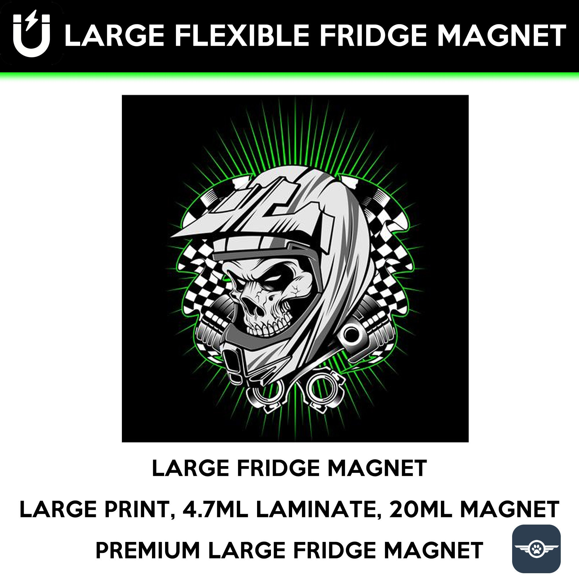Skull and helmet large fridge magnet, large 6 1/2 x 6 1/2 inch premium fridge magnet that stands out.