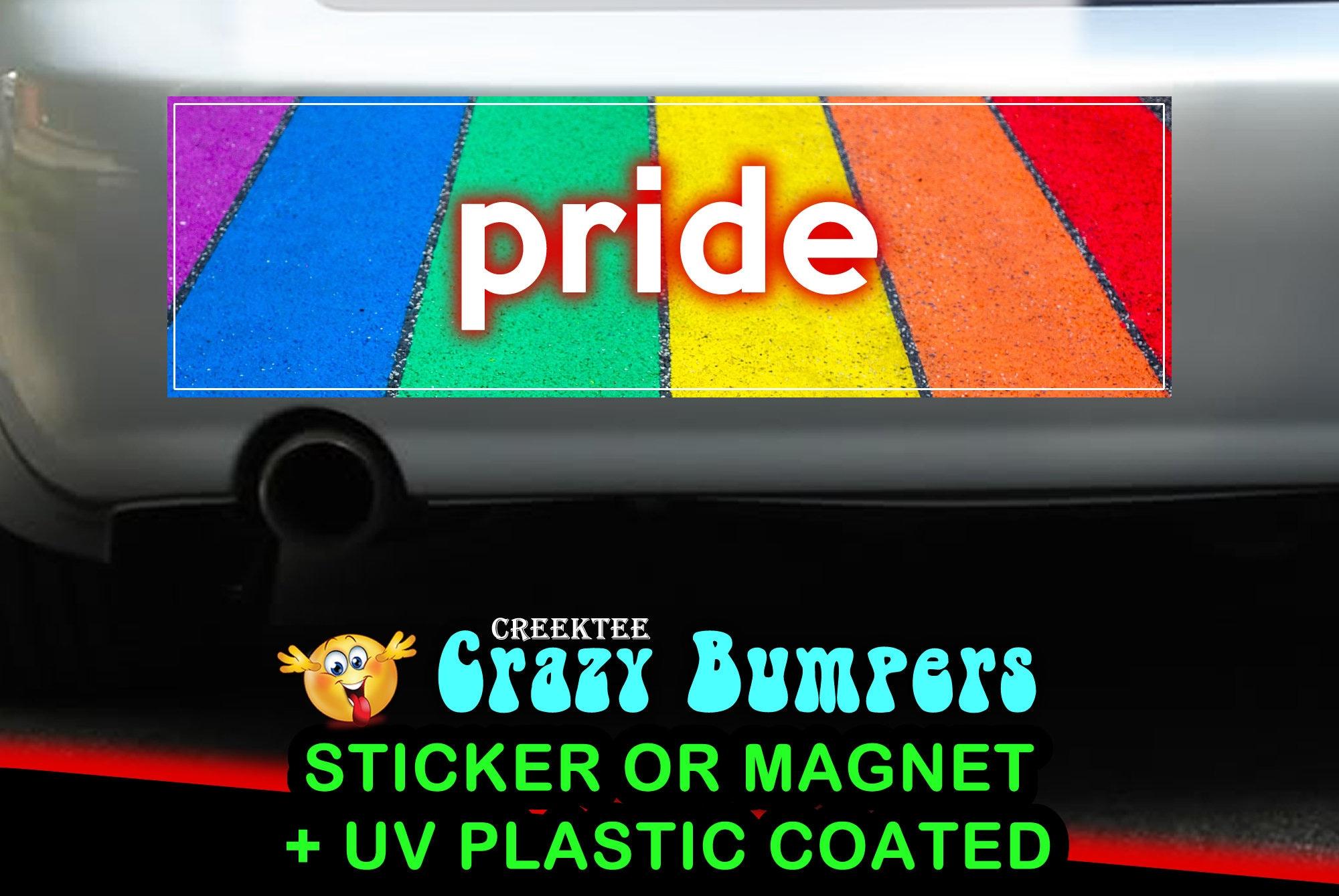 CAD$9.74 - Rainbow Pride Sidewalk 10 x 3 Bumper Sticker or Magnetic Bumper Sticker Available