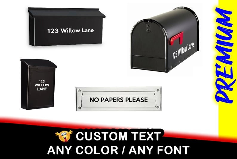 Mailbox or Laptop Text Vinyl Decals, You choose the size up to 12 inches also various sizes and colors - colours