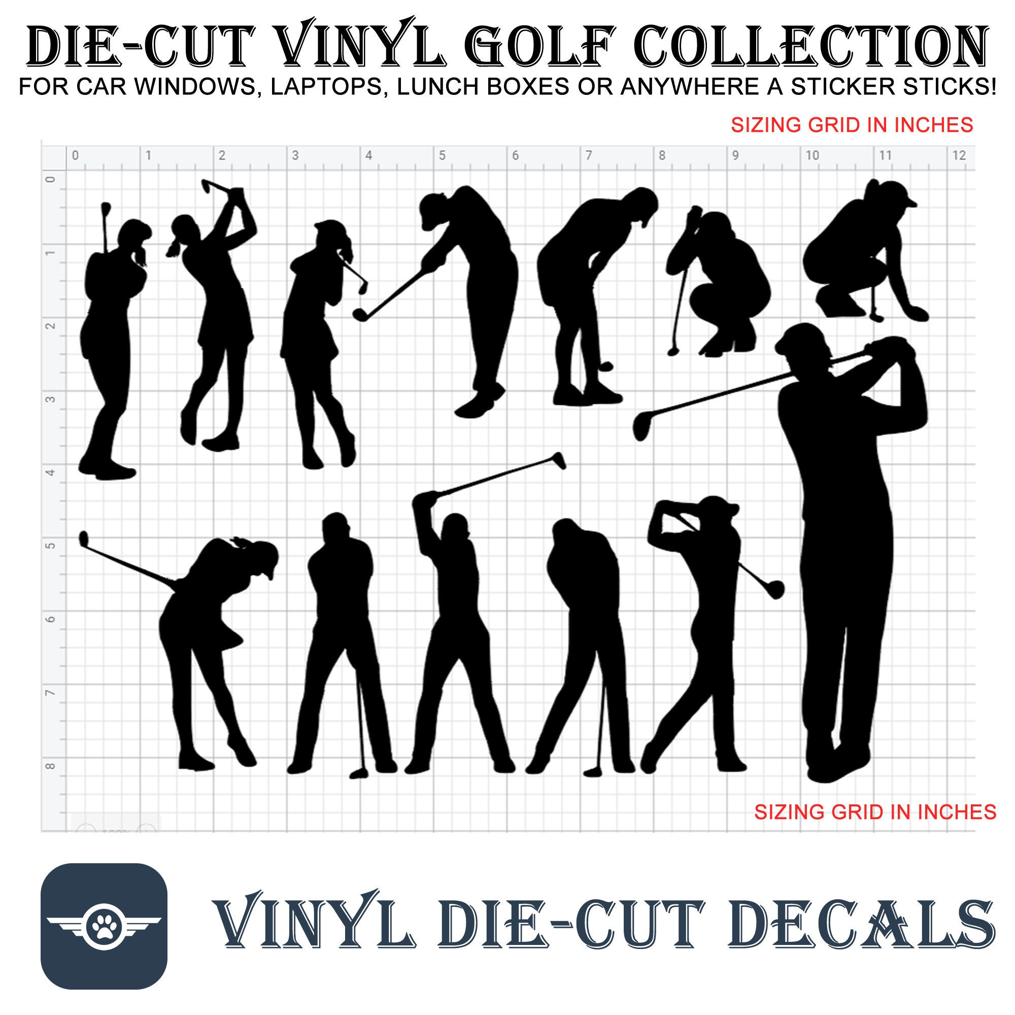 CAD$11.84 - 13 Golf Vinyl die-cut decals in different colors even chrome see image for sizing and contact for sizes not shown