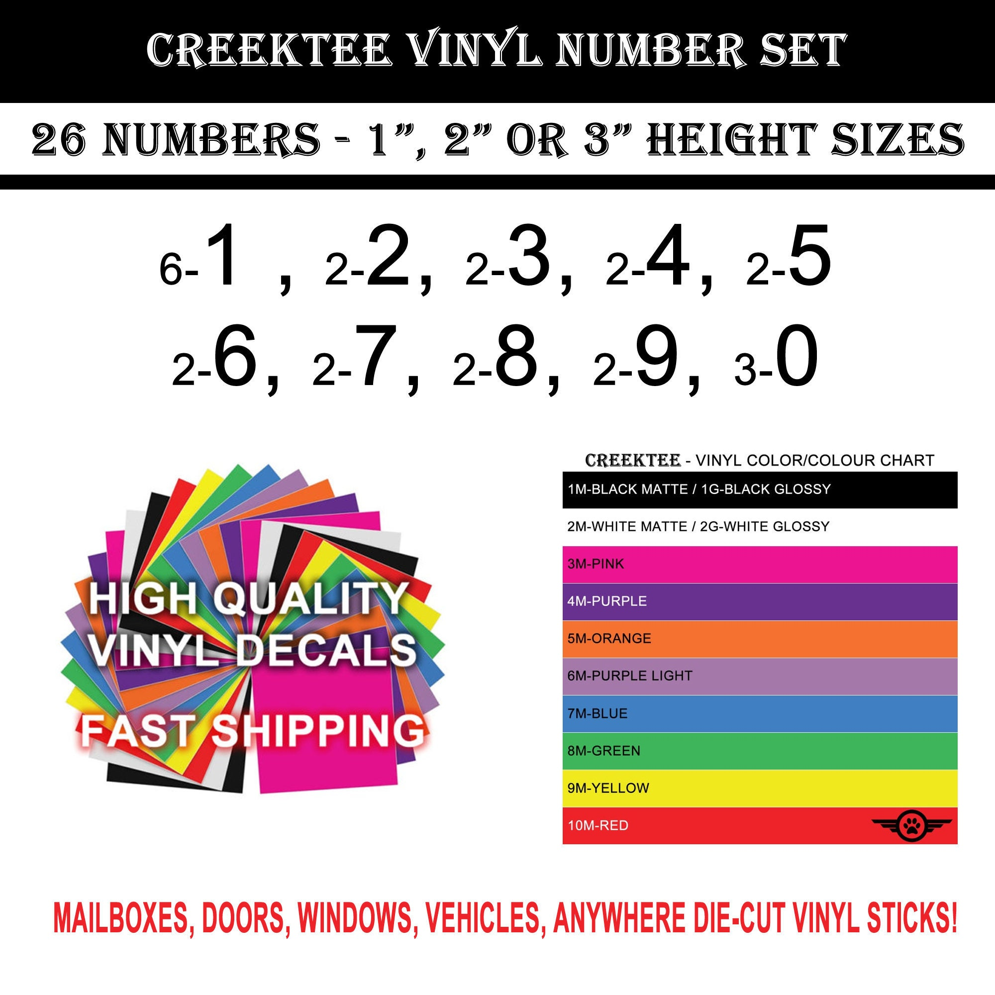 CAD$7.99 - 26 Vinyl Numbers Chrome or Standard High Quality Cars, Trucks, Vans, Windows, Boats, Mailboxes, 1 inch , 2 inch and 3 inch heights