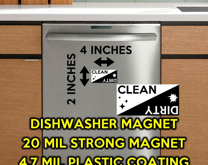 2X - Premium Vinyl Clean / Dirty Dishwasher Magnet 2 inches high x 4 inches wide - black and white - magnet for the dishwasher