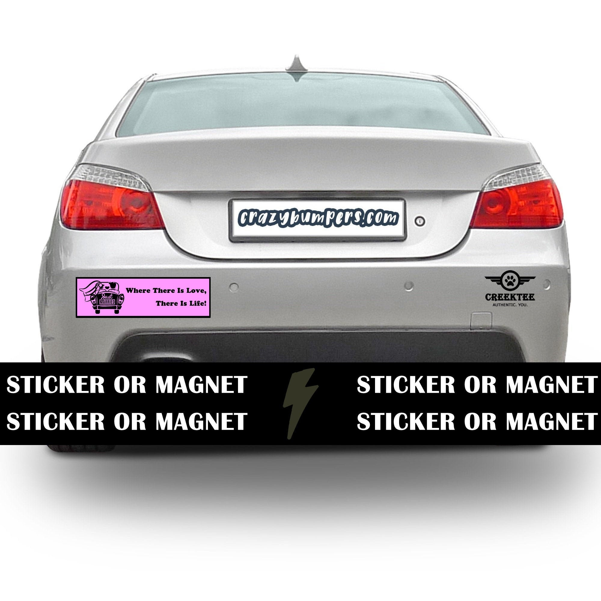 CAD$9.74 - Just Married Bumper Sticker 10 x 3 Bumper Sticker or Magnetic Bumper Sticker Available - Custom changes and orders welcomed!
