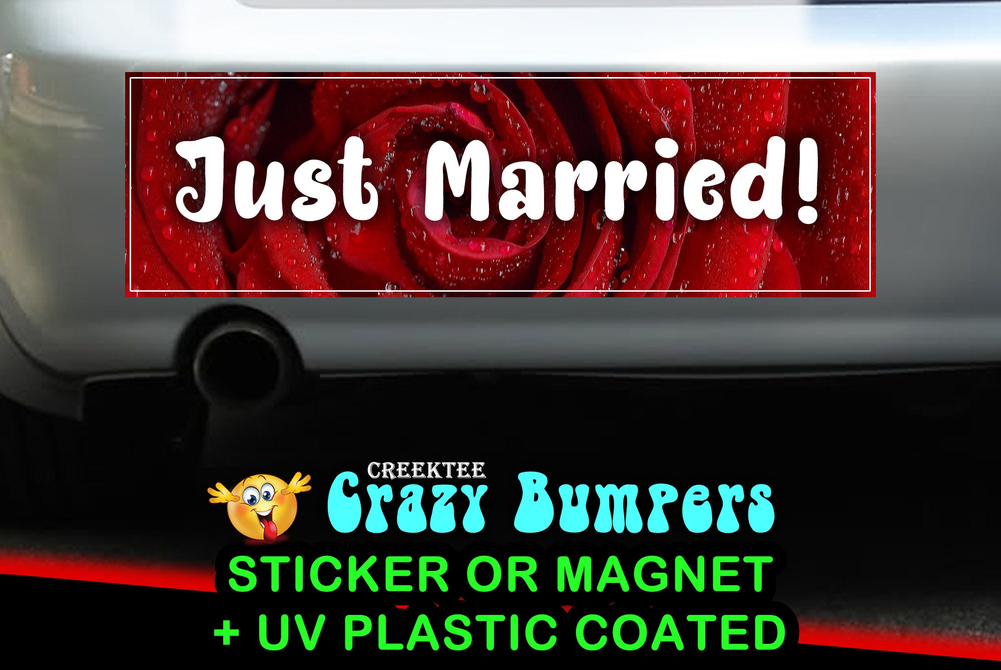 CAD$9.74 - Just Married 10 x 3 Bumper Sticker or Magnetic Bumper Sticker Available