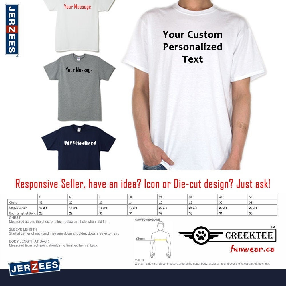 CAD$29.99 - custom text tshirt Personalized Text On Front T-Shirt using long lasting vinyl print custom tee