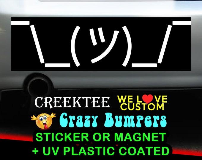 Emoji Shrug Bumper Sticker 10 x 3 Bumper Sticker or Magnetic Bumper Sticker Available