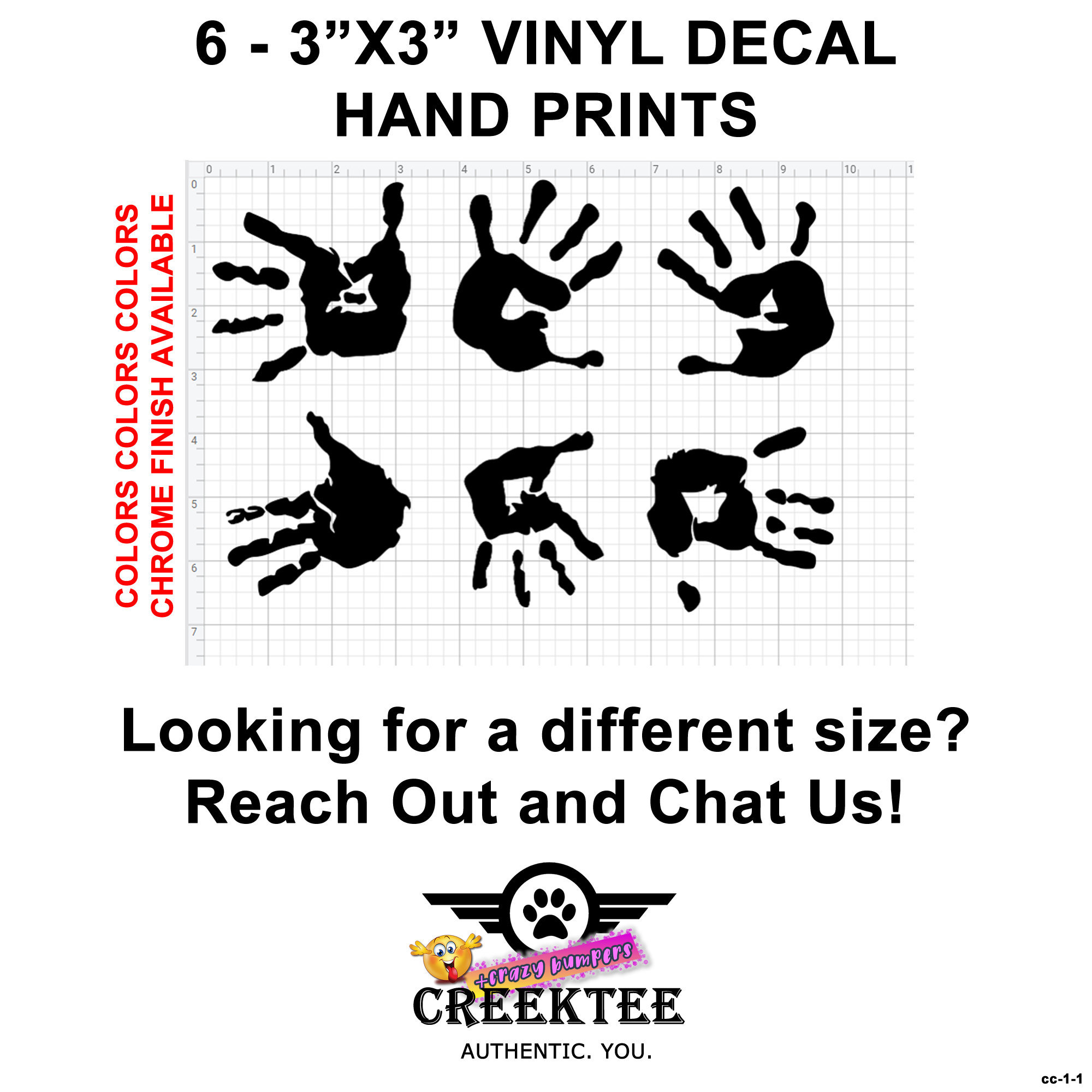 CAD$9.74 - 6 Hand Print Vinyl Decals approximate 3 inch by 3 inch per decal also various sizes and colors - colours